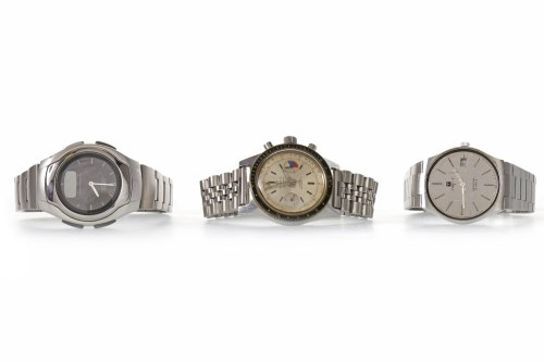 Lot 889-THREE VARIOUS STAINLESS STEEL WRIST WATCHES...