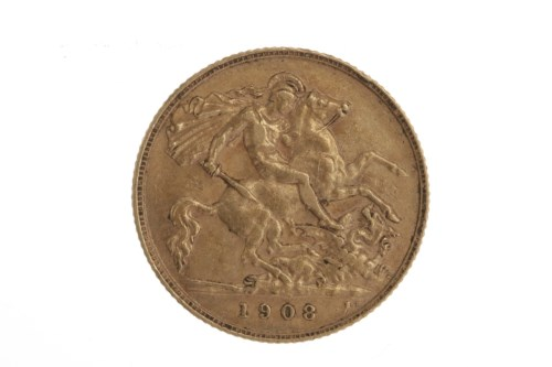 Lot 502-GOLD HALF SOVEREIGN DATED 1908
