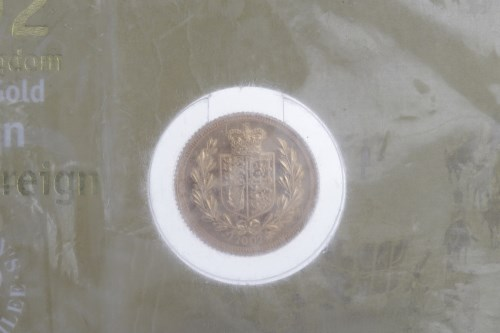 Lot 506-GOLD HALF SOVEREIGN DATED 2002 mounted on card,...