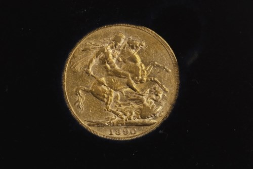 Lot 509-GOLD SOVEREIGN DATED 1890 in a box, with...
