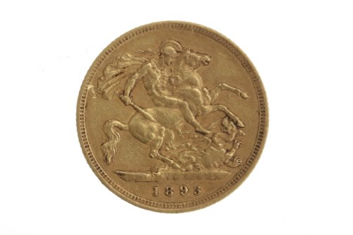 Lot 512-GOLD HALF SOVEREIGN DATED 1893