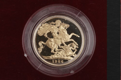 Lot 514-GOLD PROOF SOVEREIGN DATED 1986 in capsule, in...