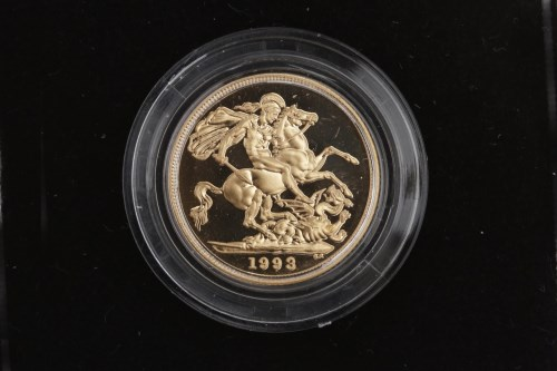 Lot 515-GOLD PROOF SOVEREIGN DATED 1993 in capsule, in...