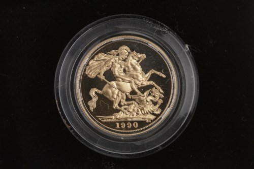 Lot 521-GOLD PROOF SOVEREIGN DATED 1990 in capsule, in...