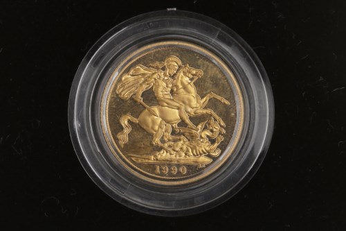 Lot 522-GOLD PROOF SOVEREIGN DATED 1990 in capsule, in...