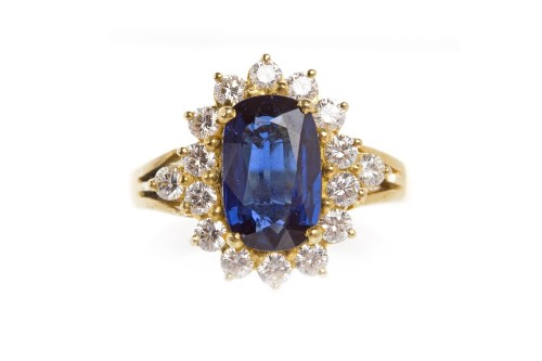 Lot 2-CERTIFICATED SAPPHIRE AND DIAMOND CLUSTER RING...