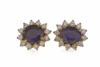Lot 3-PAIR OF SAPPHIRE AND DIAMOND CLUSTER EARRINGS...