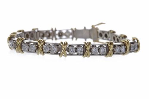 Lot 6-BI COLOUR DIAMOND LINE BRACELET set with pairs of ...