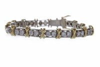 Lot 6-BI COLOUR DIAMOND LINE BRACELET set with pairs of ...