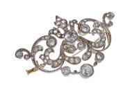 Lot 10A-IMPRESSIVE EDWARDIAN DIAMOND SET BROOCH PENDANT...