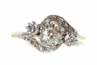 Lot 17-MID TWENTIETH CENTURY DIAMOND THREE STONE RING...