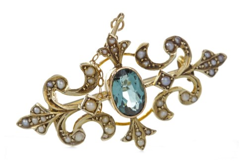 Lot 21-EDWARDIAN TOURMALINE AND PEARL BROOCH open and...