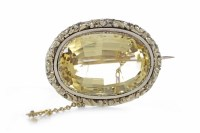 Lot 22-VICTORIAN CITRINE BROOCH set with a large oval...