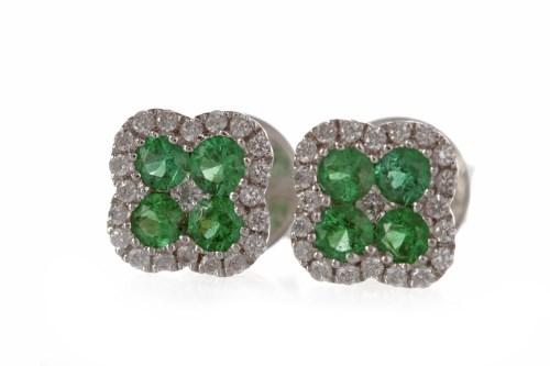 Lot 30-PAIR OF GREEN GEM AND DIAMOND SET STUD EARRINGS...