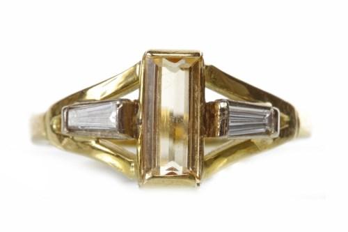 Lot 31-EIGHTEEN CARAT GOLD TOPAZ AND DIAMOND THREE STONE ...