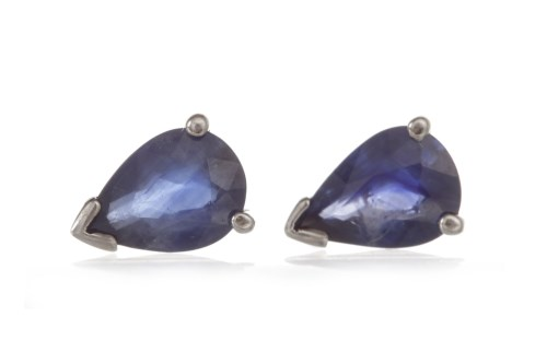 Lot 32-PAIR OF SAPPHIRE STUD EARRINGS each set with a...
