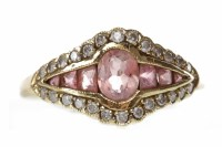 Lot 33-PINK TOURMALINE AND DIAMOND DRESS RING set with a ...