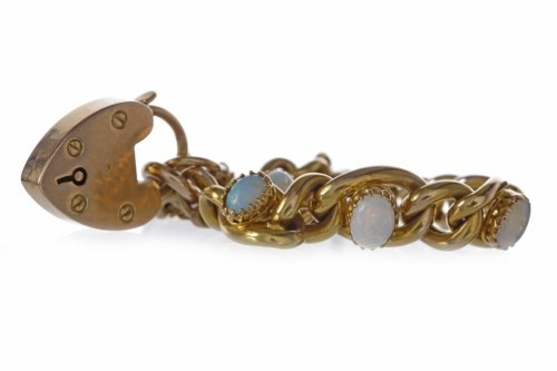 Lot 35-OPAL CURB LINK BRACELET set with five graduated...