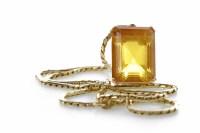 Lot 45-PASTE SET PENDANT ON CHAIN the pendant set with a ...