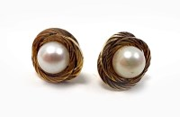 Lot 63-PAIR OF NINE CARAT GOLD MOUNTED PEARL STUD...