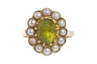 Lot 65-NINE CARAT GOLD PERIDOT AND PEARL RING set with a ...