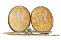Lot 101-TWO MID TWENTIETH CENTURY CAMEO BROOCHES each of...