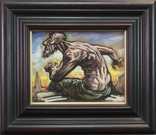 Lot 27-* PETER HOWSON OBE, DON QUIXOTE pastel on paper,...