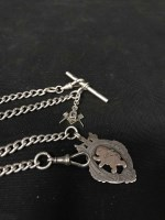 Lot 4-TWO SILVER ALBERT CHAINS one with masonic fob and ...