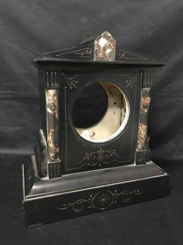 Lot 12-VICTORIAN BLACK SLATE MANTEL CLOCK CASE AND A...