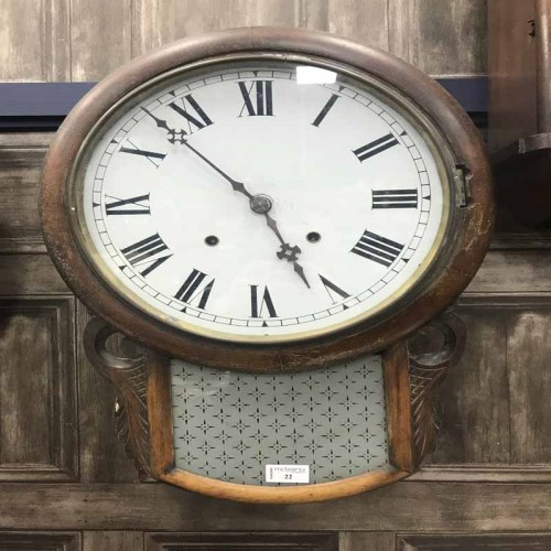 Lot 22-LARGE WALL CLOCK WITH WOOD AND GLASS FRAME
