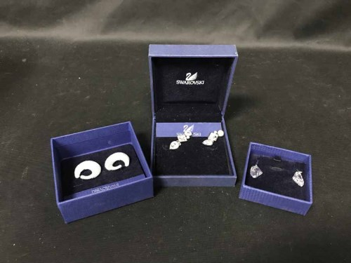 Lot 32-LOT OF SWAROVSKI EARRINGS most in boxes with...