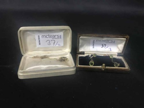 Lot 37-PAIR OF EDWARDIAN EARRINGS and a Victorian stone...