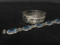 Lot 42-MARCASITE BRACELET and a Victorian bangle
