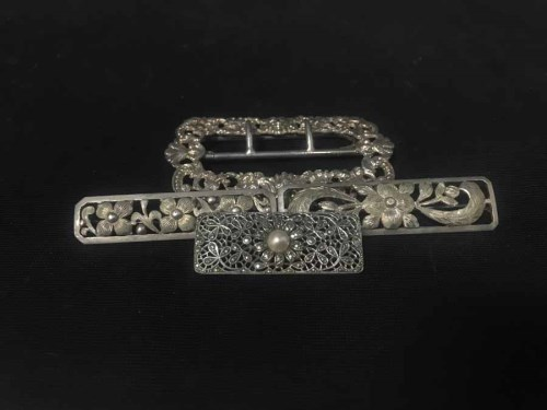 Lot 44-SILVER BUCKLE along with brooches and pendants...
