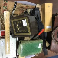 Lot 58-LOT OF COLLECTABLES including a clock, a leather...