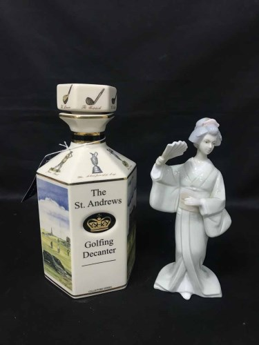 Lot 61-ST ANDREWS GOLFING DECANTER AND TWO SPANISH LADY...