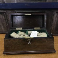 Lot 65A-VICTORIAN ROSEWOOD SARCOPHAGUS TEA CADDY also a...