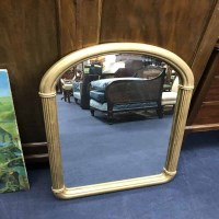Lot 81-GILT FRAMED OVERMANTEL MIRROR and another (2)