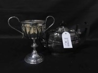 Lot 91-LOT OF SILVER PLATE including a tea service, two...