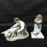 Lot 95-ROYAL COPENHAGEN FIGURES AND PLATE