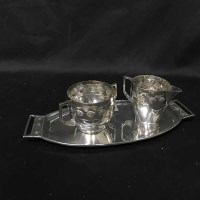 Lot 96 - WMF SUGAR AND CREAM ON TRAY along with a white...