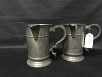 Lot 97-TWO LARGE VICTORIAN PEWTER JUGS marked J Cole