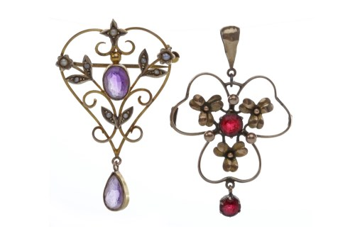 Lot 102-EDWARDIAN AMETHYST AND PEARL PENDANT of sinuous...