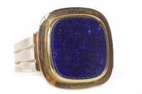 Lot 161-GENTLEMAN'S LAPIS LAZULI RING set with a rounded...