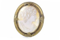 Lot 181-VICTORIAN CAMEO BROOCH set with a shell cameo...