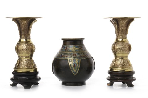 Lot 1045-EARLY 20TH CENTURY CHINESE BRONZE AND ENAMEL VASE ...