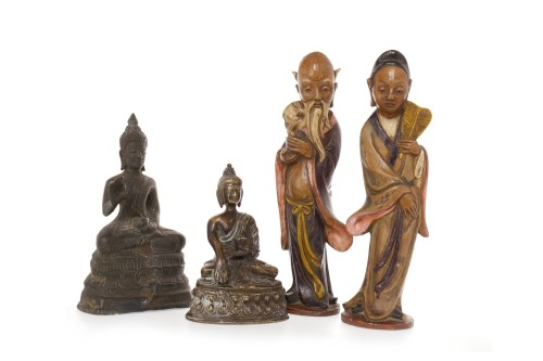 Lot 1049-20TH CENTURY CHINESE BRONZE FIGURE OF A SEATED...