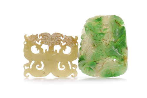 Lot 1055-TWO CHINESE GREEN HARDSTONE CARVED AMULETS...