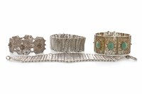 Lot 1071-GROUP OF THREE EASTERN WHITE METAL FILIGREE...