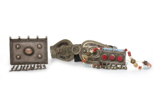 Lot 1073-EASTERN WHITE METAL AND LEATHER BELT along with a ...